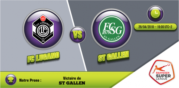 FC Lugano vs. St Gallen Super League dimanche 29 avril 2018 victoire de St Gallen